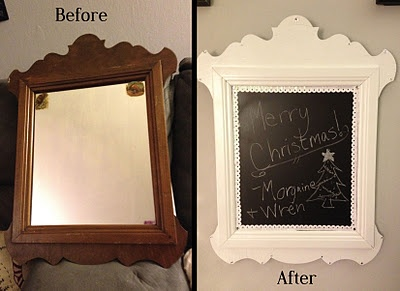 Chalkboard frame.  #DIY  #before&after  #chalkboard  #mirror  www.madcapfrenzy.blogspot.com