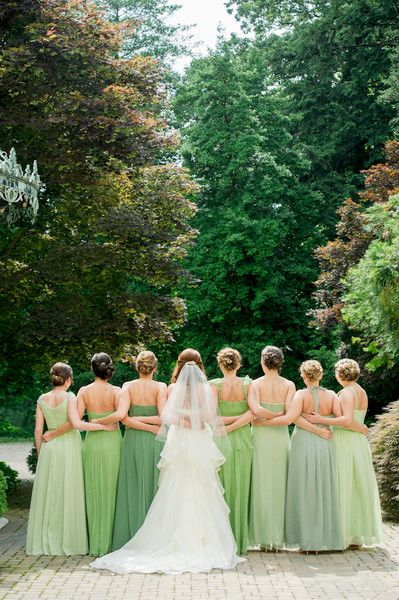 We love the idea of different shades of green for your bridesmaids dresses! {Alison Harper & Company, LLC}