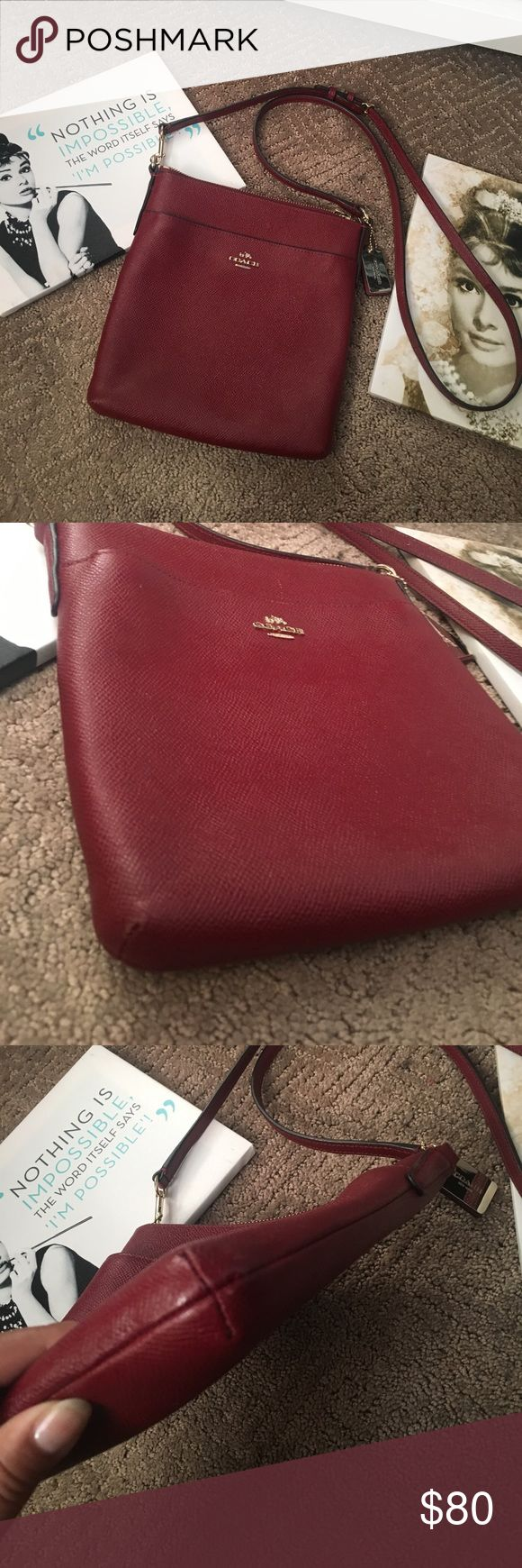 Coach swingpack 🌻 Great used condition. No stains inside at all. Few scratches on the front but only obvious up close. Pretty red color. More on the wine side. Gold hardware. Purchased at a full price coach store about 2 years ago. No dustbag included. Adjustable strap. Coach Bags Crossbody Bags