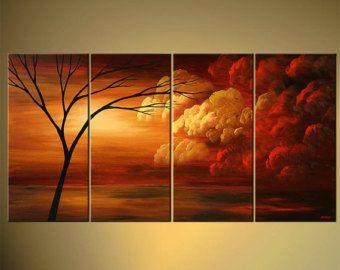Paisaje rojo - árbol y nubes abstractas pintura acrílica por Osnat - confeccionar - 60