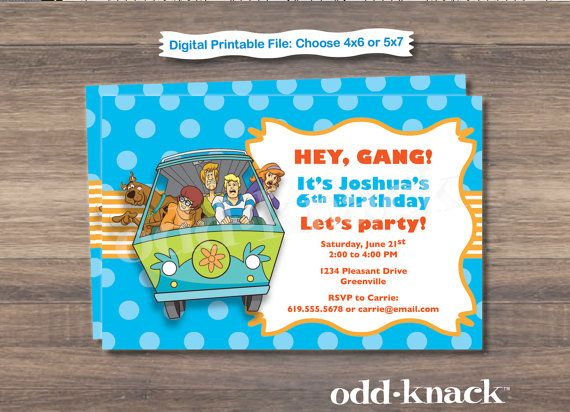 66 best scooby doo party ideas images on pinterest | scooby doo, Birthday invitations