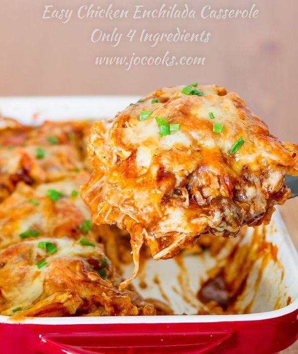 Easy 4 ingredient Chicken Enchilada Casserole