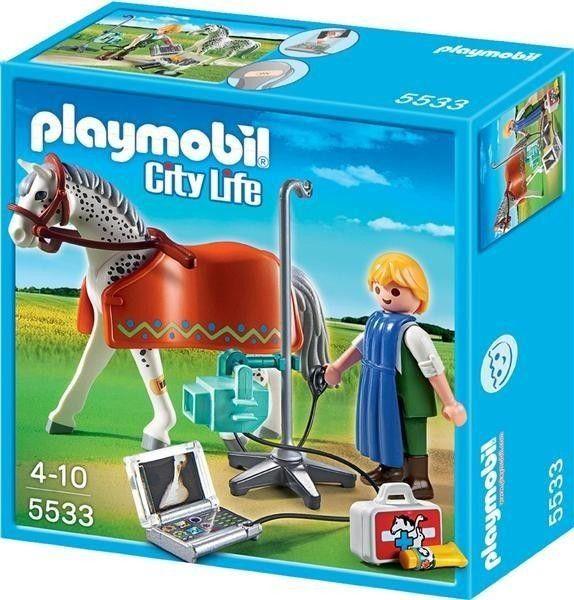 Playmobil - Equipo de rayos X con caballo, con todo lo necesario para tener a tus caballos en forma.