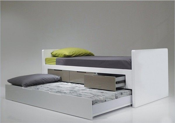 Mobital Furniture - Jack N Jill Single Trundle Bed in High Gloss White - BED-JAJI-WHIT-SINGL