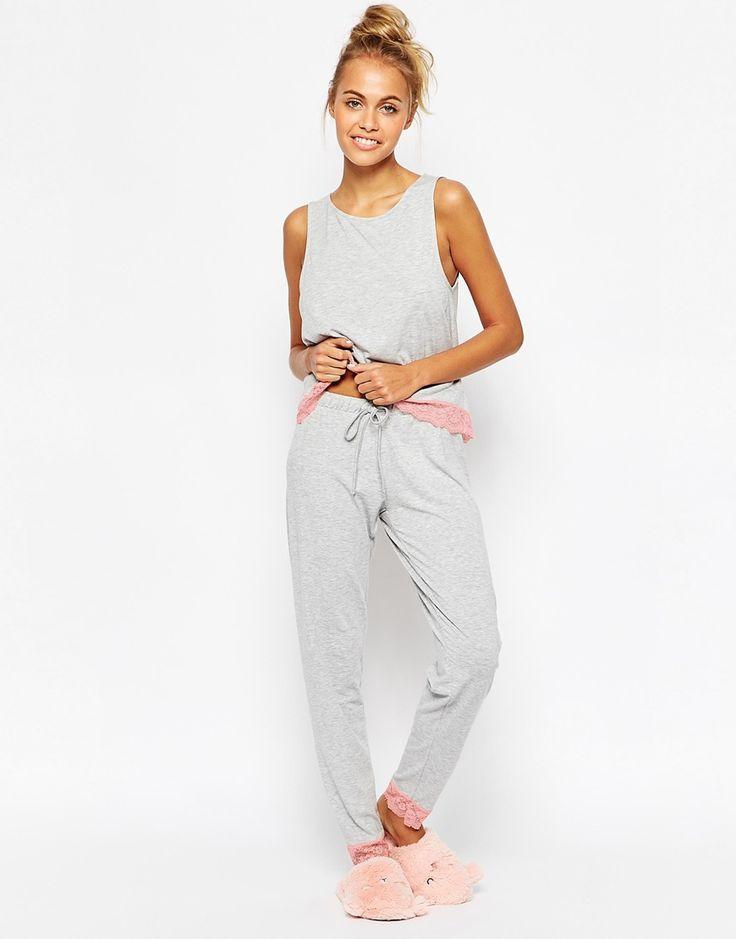 ASOS+Lace+Trim+Vest+&+Legging+Pyjama+Set