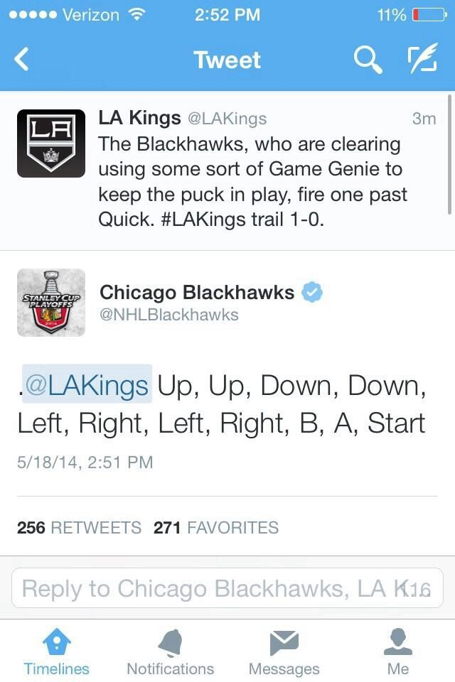 Battle of the #Kings & #Blackhawks Twitter accounts during Game 1 [May 18, 2014]