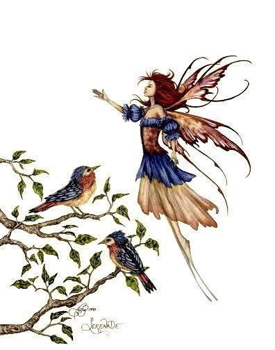 Amy Brown Serenade Fairy & Bird Print