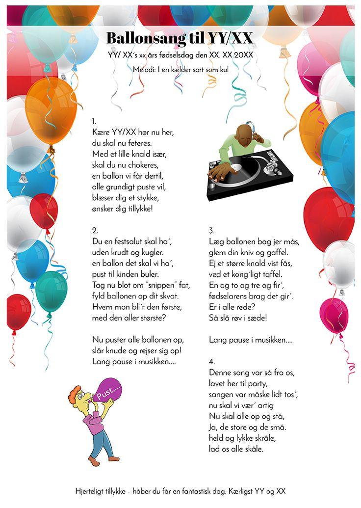 Ballonsangen til fødselaren 2. design   Fødselsdag humor
