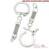 Брелки и кольца для ключей Серебряный тон 6,2 см х 2.3cm, 30шт, брелки Длина: 3.8cm (B27327)
