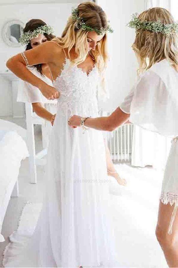 Soft Backless Wedding Dress, A-Line Wedding Dress, V Neck Wedding Dress