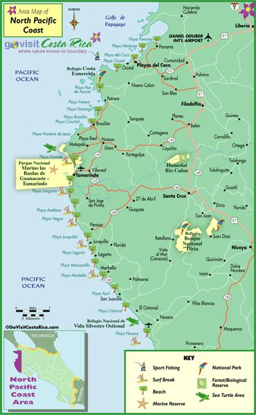 Costa Rico  North Pacific Coast (Tamarindo Area) Map