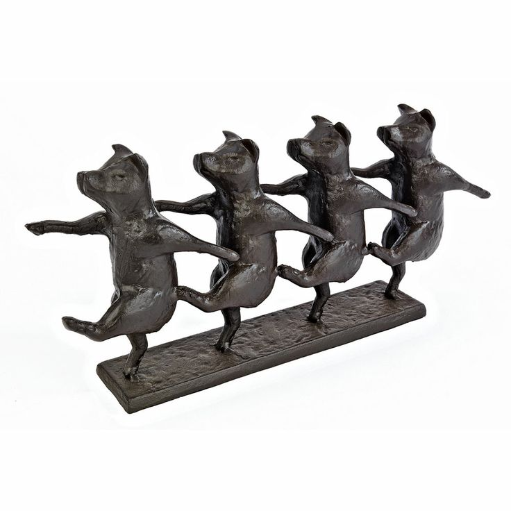 Line Dancing Pigs Cast Iron Sculpture Chorus Line Dancers Statue