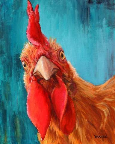 Rooster Original Painting by Dottie Dracos Rooster by DottieDracos