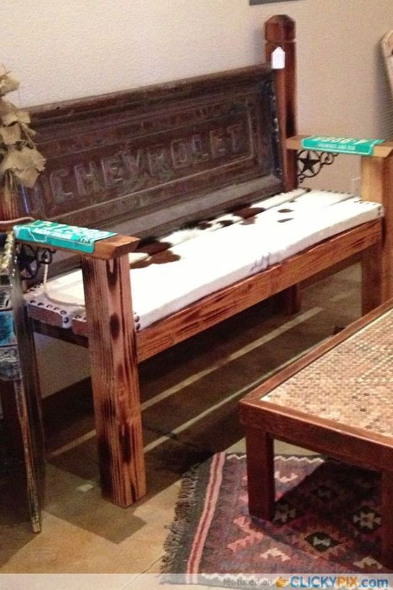 Cute tailgate recycled bench - perfect decor at the western rustic cabin