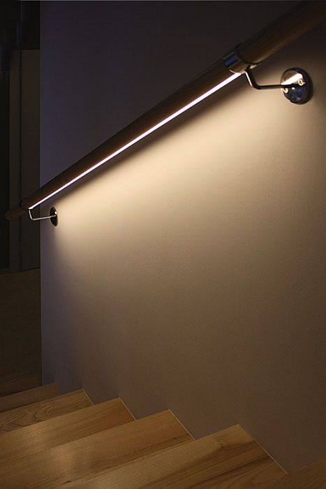 LED light could be used to handrail underlighting, or mount it along the top of the stringers.  MICRO - ALU Profile for universal use - Kluś Design - USE IN HALLWAY, bathroom, etc.