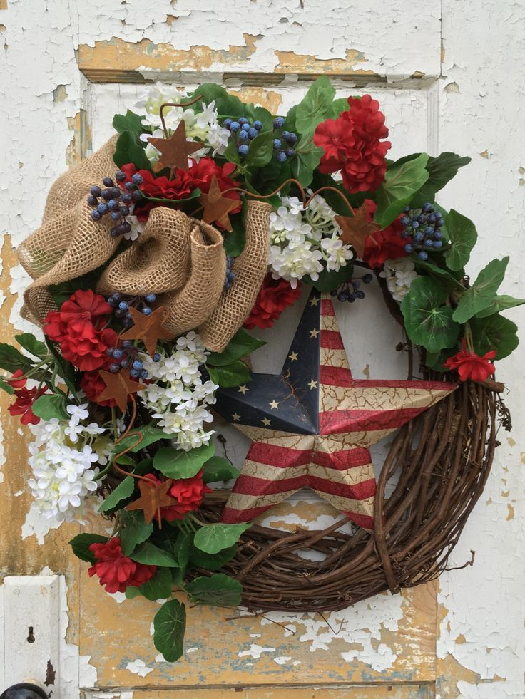 Patriotic Wreath, Spring Wreath, USA wreath, Memorial Day Wreath, 4th of July Wreath, Summer Wreath by FlowerPowerOhio on Etsy