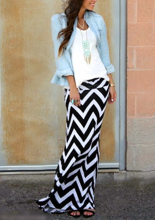 Bright blue denim shirt with white blouse and cute necklace and white and black stripes cute maxi dress and pumps
