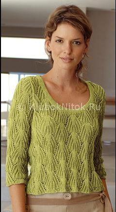 Зеленый пуловер узором «Листики» | Вязание для женщин | Вязание спицами и крючком. Схемы вязания.