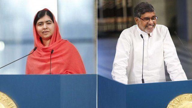Pakistani education activist Malala Yousafzai and Indian child rights campaigner Kailash Satyarthi have received the Nobel Peace Prize awards.
