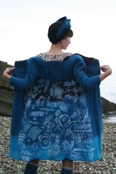 пальто синее валяние войлок шерсть жакет