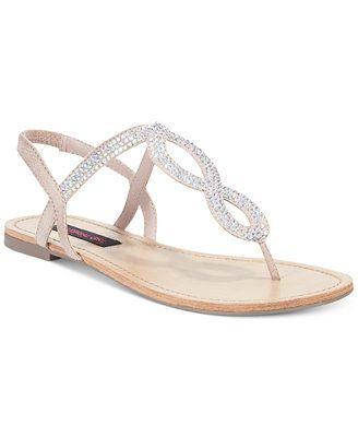 Material Girl Selena Rhinestone Flat Thong Sandals. Blush