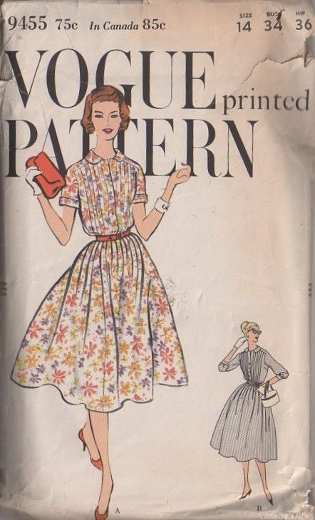 MOMSPatterns Vintage Sewing Patterns - Vogue 9455 Vintage 50's Sewing Pattern GORGEOUS Retro Lucy Pin Tucks Bodice Full Flared Gathered Skirt Shirtwaist Day Dress, Short or 3/4 SleeveVintage 1950S, Fashion Pattern, Vintage Fashion, Vintage Sewing, Vogue Prints, Pattern 9455, Vintage Pattern, 1950S Vogue, Sewing Patterns