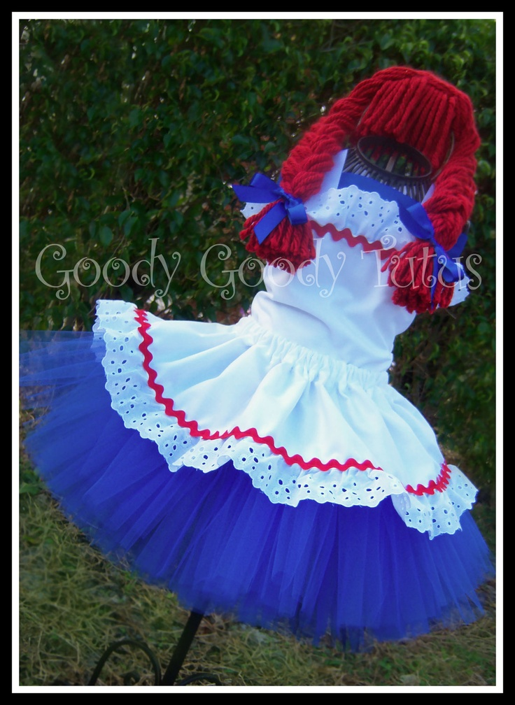 RAG DOLL SWEETIE Raggedy Ann Inspired Tutu Set with Twirl Skirt, Corset Top and Braided Headpiece. $95.00, via Etsy.