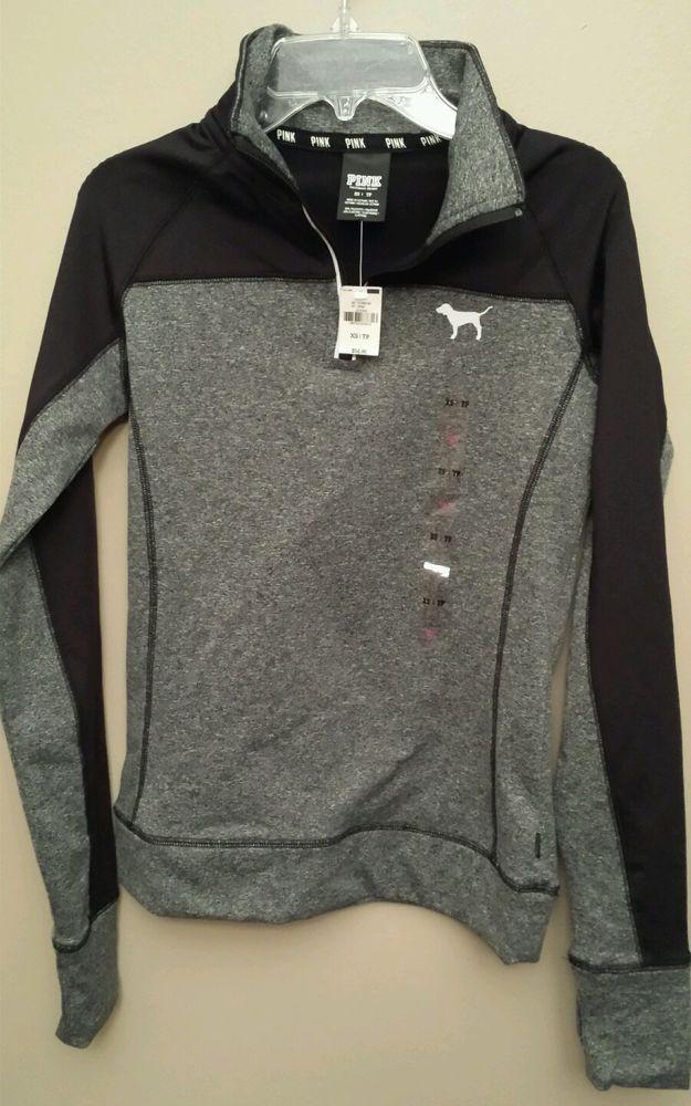 Victorias Secret VS PINK Ultimate Half Zip Jacket Pullover Yoga Size XS NWT Gray #VictoriasSecret #TrackSweatSuits