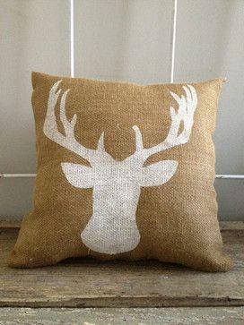 Deer head Burlap Pillow. DIY this w/ some burlap or linen, a stencil, & fabric paint.