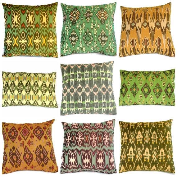 Pillow, Yellow, Green, Ikat