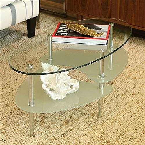 Modern Oval Glass Coffee Table With Chrome Metal Legs Round Square