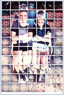Hockney composite polaroid  Celia's Children Albert & George Clark  1982