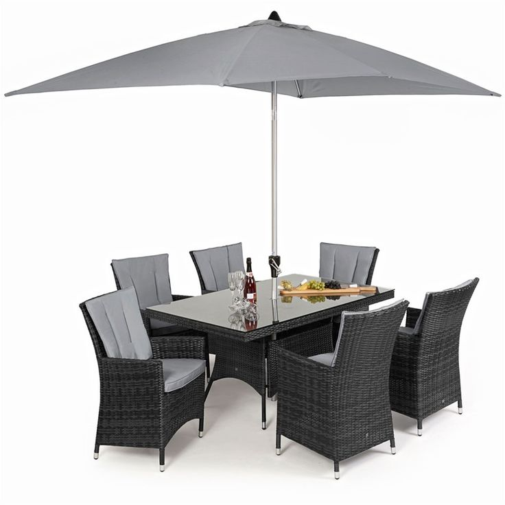 maze rattan la 6 seat rectangular garden furniture set
