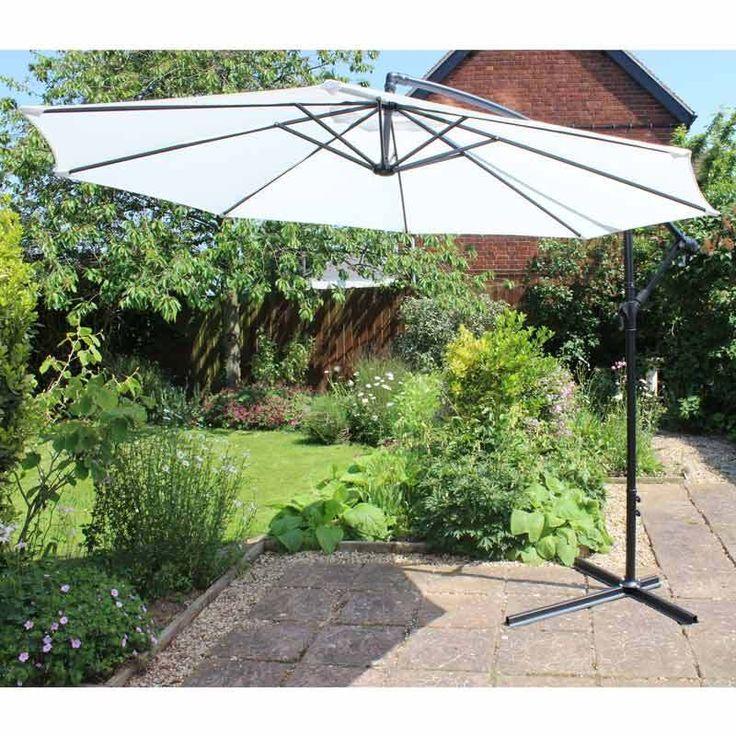 Natural White 3m Cantilever Parasol Elegant Banana Overhanging Garden Umbrella