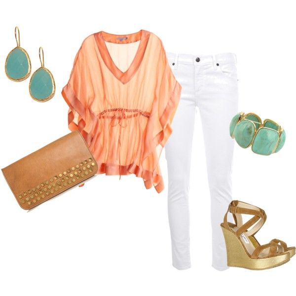 Peach and Teal: Fashion, Summer Outfit, Style, Spring Summer, Summer Night, Spring Outfit, White Jeans