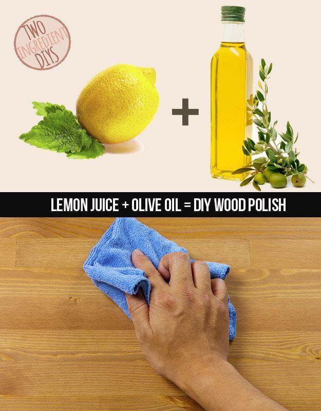 Machen Sie eine hausgemachte und super nicht-toxische Holzpolitur mit nur Zitronensaft und Olivenöl. | 27 Insanely Easy Two-Ingredient DIYs
