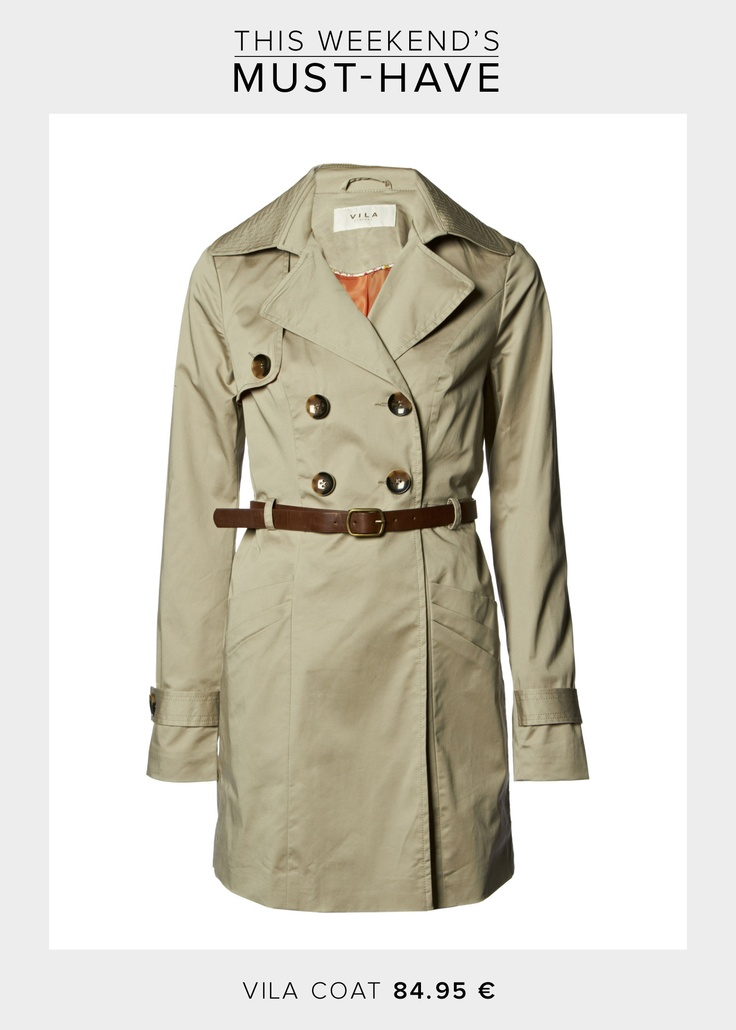 Stay chic during these rainy days wearing an elegant coat. This weekend's must have is this trendy coat by VILA which you can match with a cute pair of rubber boots. Get the coat here >>  http://www.boozt.com/r/vila/luanna-coat_801144/801145