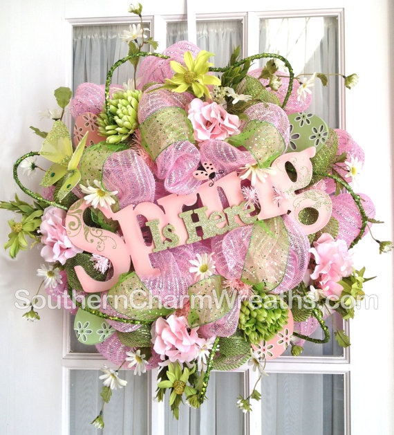 Mesh Wreath Spring Is Here Pink Green by SouthernCharmWreaths, $147.00