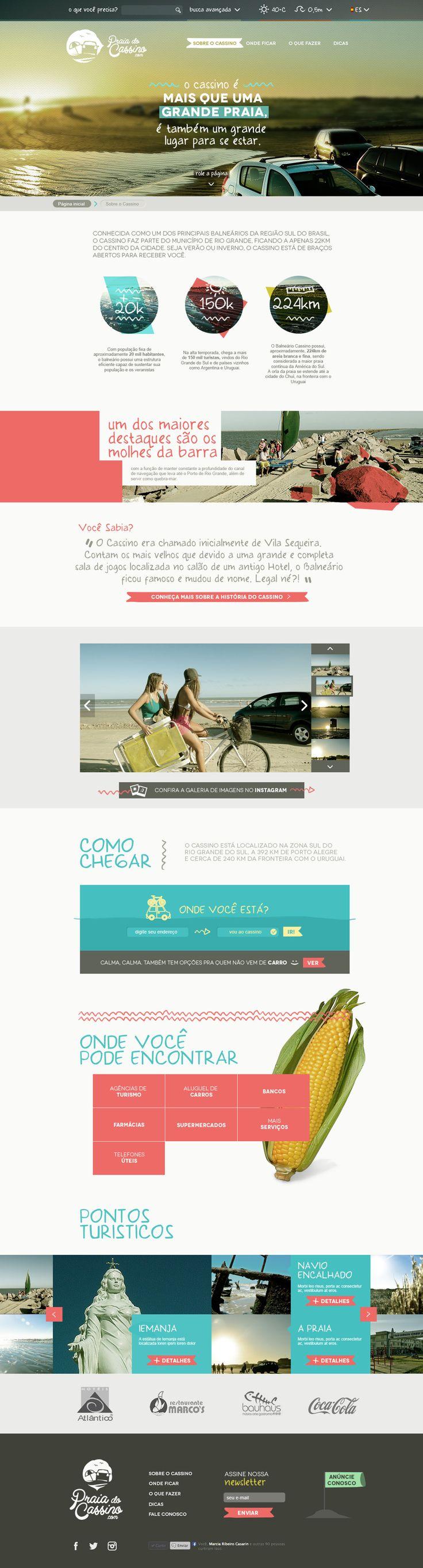 Praia do Cassino.com - Designer - Vinícius Costa   #flat #colorful #webdesign