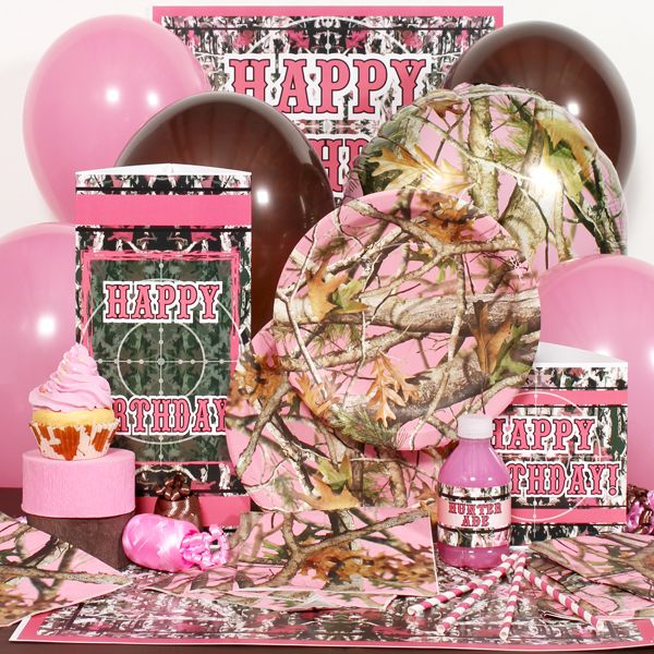 Pink camo party birthday party ideas pinterest for Pink camo decorations