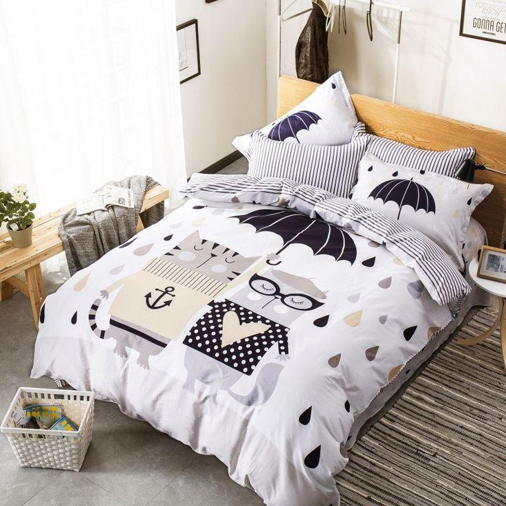 cute cat bedding set 100cotton character printed kids duvet cover set pillowcase bed linen queen bedding setsking size
