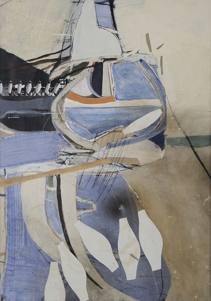 Brett Whiteley (Australian, 1939-1992), (Abstract), c.1960. Oil and collage on cardboard, 52 x 73 cm.