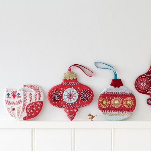 Flat Christmas Baubles, downloadable design from Nancy Nicholson