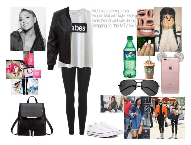 """""""Ariel Lopez arriving at Los Angeles Mall with Taylor Hill,Gigi Hadid,Kendall and Kylie Jenner Shopping for The MTV VMA's!"""" by safia4life ❤ liked on Polyvore featuring Yeezy by Kanye West, Converse, Yves Saint Laurent, Sephora Collection, LE3NO and Victoria's Secret"""