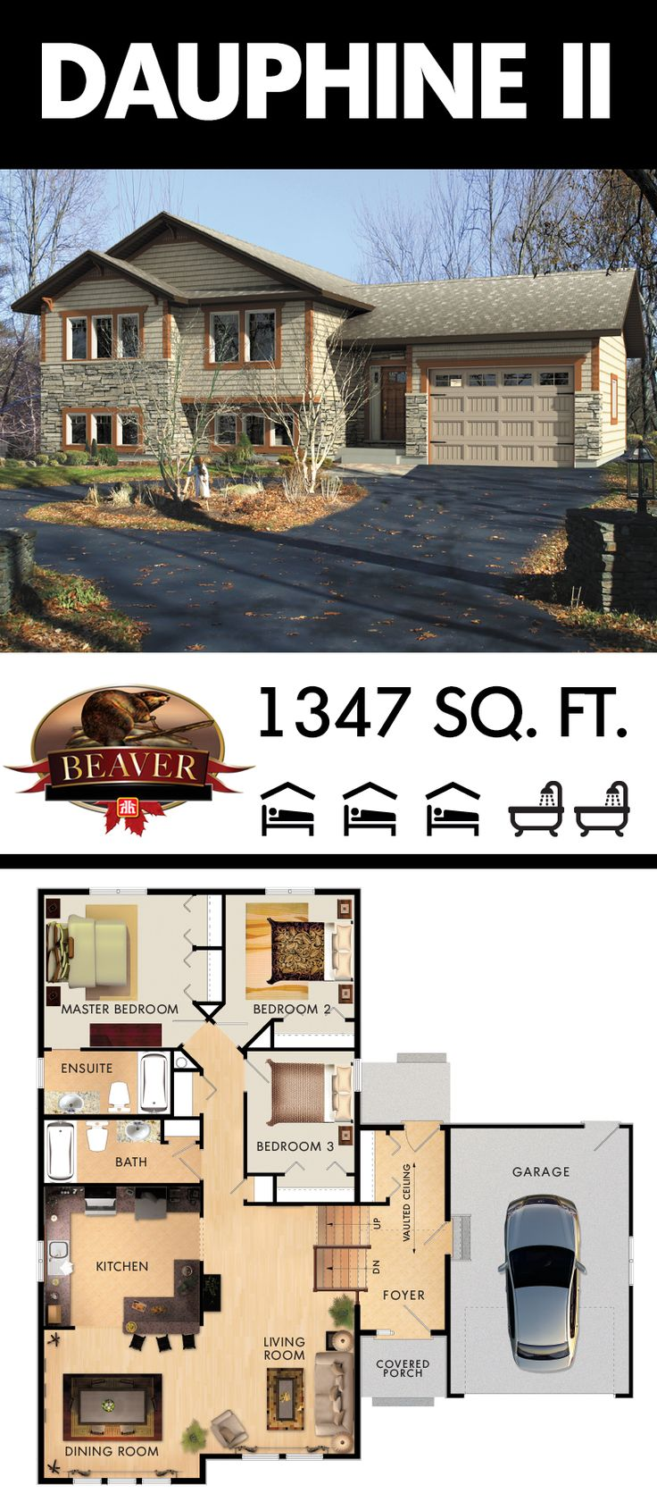 The split entry foyer and towering vaulted ceiling of the Dauphine II creates a reassuring first impression, and instantly gives you a comfortable, cozy feeling. Bonus: it is also a perfect home for giving a growing #family the space it needs. #BeaverHomesAndCottages