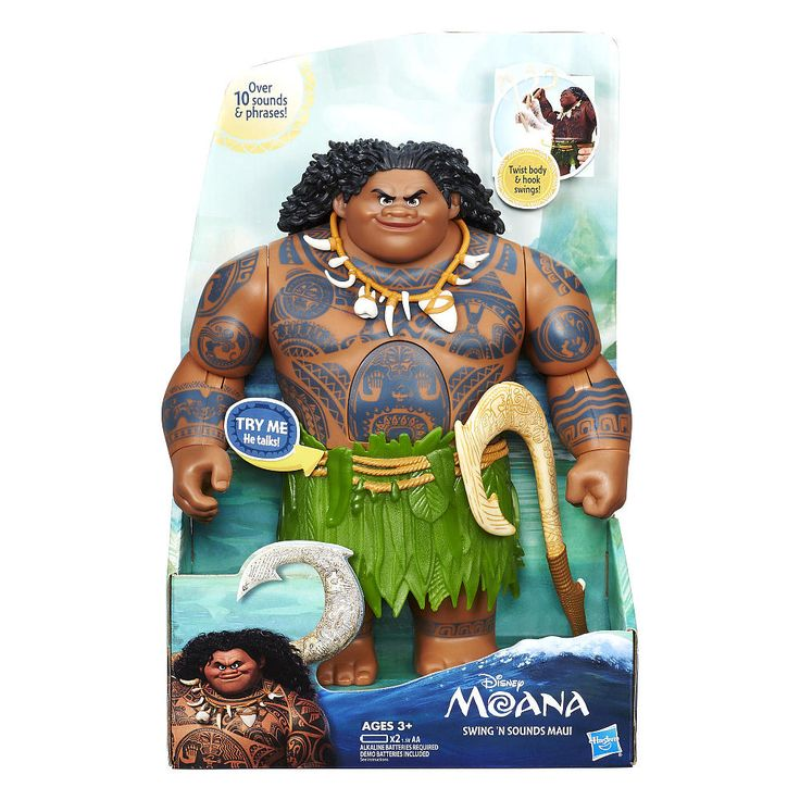 Maui the demi-god embarks on an important journey of self-discovery alongside Moana of Oceania, bringing his super strength as well as his super-sized personality. This awesome figure talks saying 10 key phrases from Disney's Moana and features fishhook swinging action! Twist the figure's body, then release and watch him swing his arm. Kids can also place the included hook accessory in his hand to make him wield his fishhook.<br><br>The Disney Moana Princess Doll - Swing ...