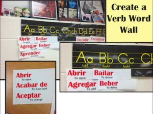 Verb Word Wall for decorating Spanish classroom. http://spanishplans.org/2011/02/17/verb-word-wall/