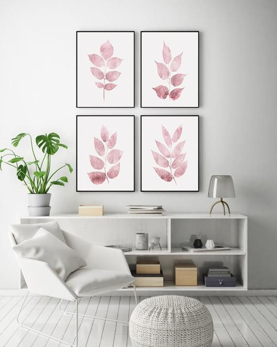 Gallery Wall Set Pink Leaf Print Wall Art Pink And White Etsy Living Room Decor Colors Wall Decor Living Room Wall Decor Printables