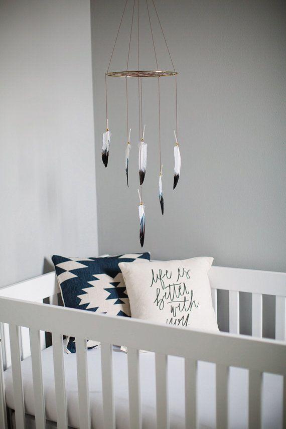Black White Dreamcatcher Mobile - Brown Boho Bohemian Baby Tribal Nursery Girl Boy Feathers