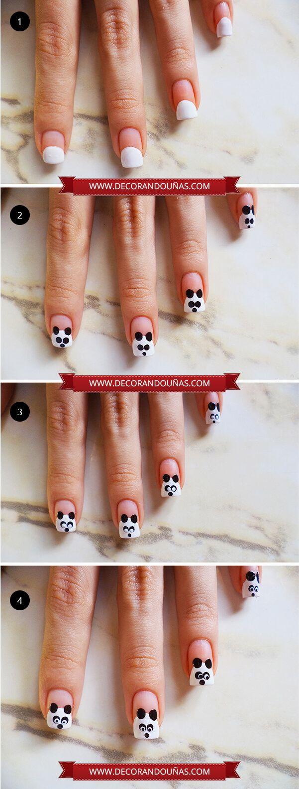 Uñas pintadas con un hermoso oso panda – Paso a paso   Decoración de Uñas - Nail Art - Uñas decoradas